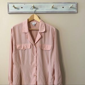 Christian Dior Vintage Pink Button-Down Blouse